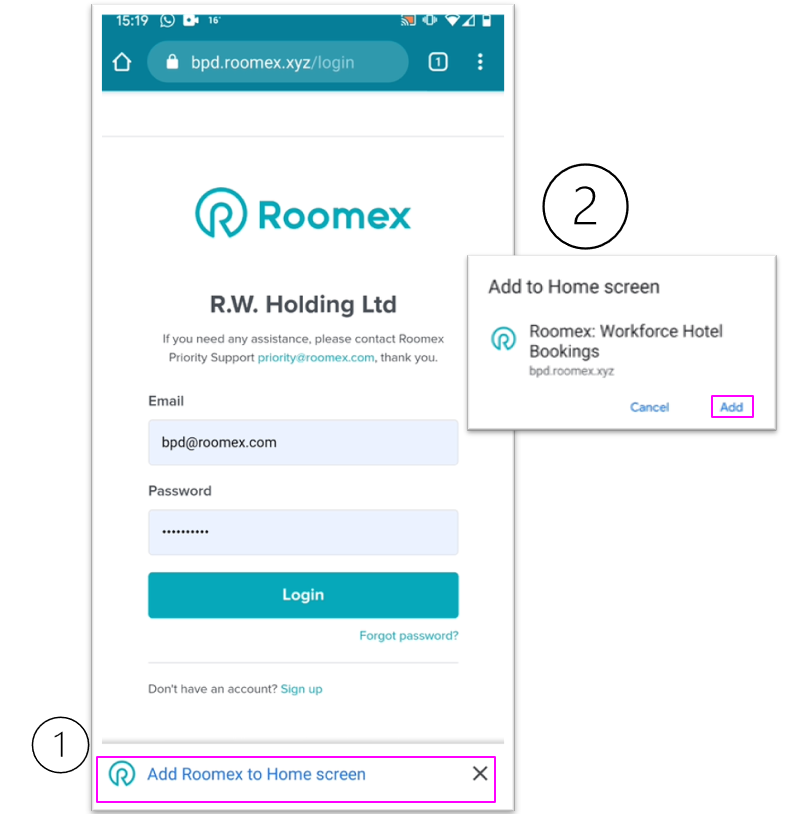 roomex app set up android-1
